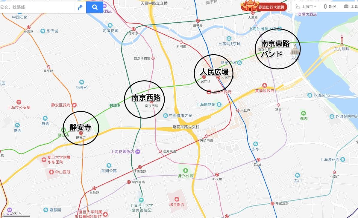 上海ホテルおすすめエリア図
