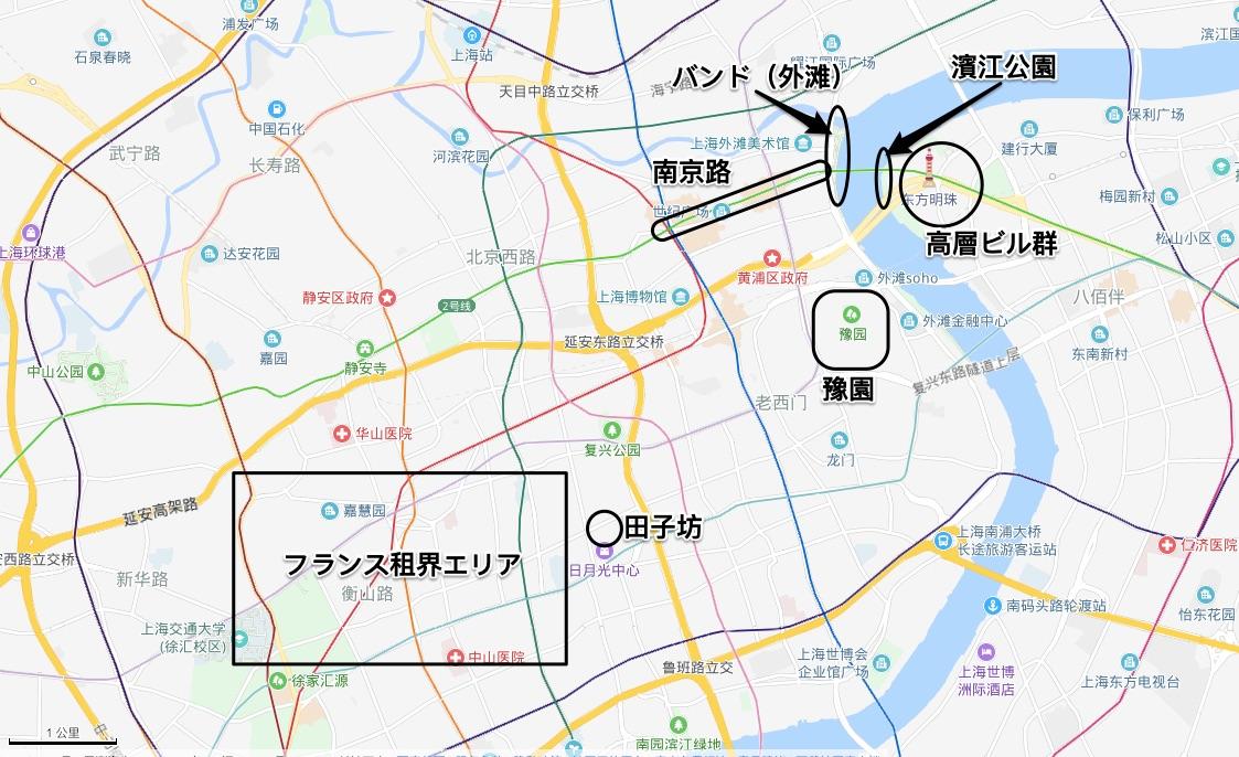 上海市内主要観光地図